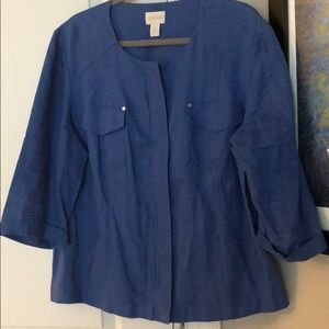 Linen Jacket by Chico's, Sz 3